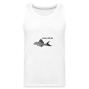 T Sleevel. Weiß Logo vorne, mittel - Männer Premium Tank Top