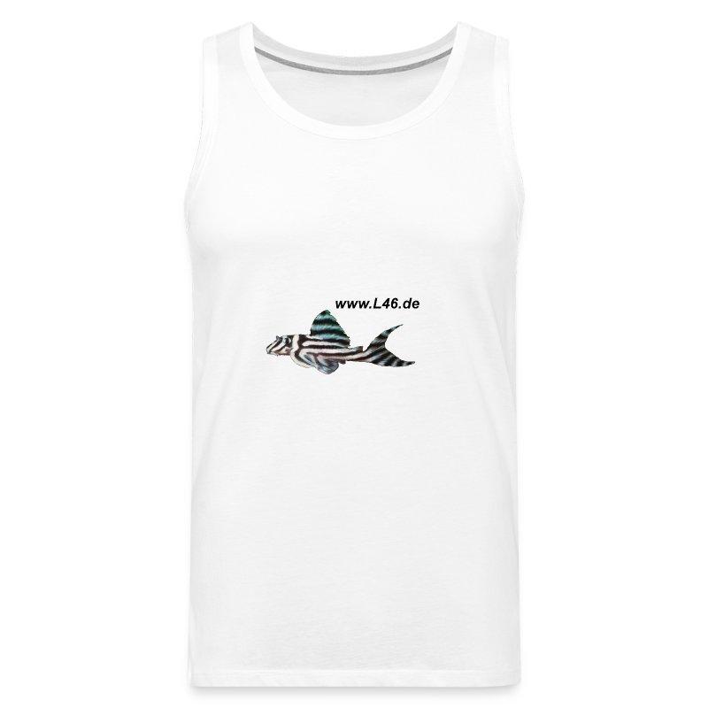T Sleevel. Weiß 2 Logo mittel+groß - Männer Premium Tank Top