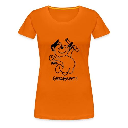 Diplombär,  geschafft, orange w - Frauen Premium T-Shirt