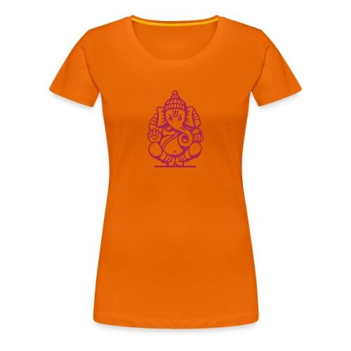 T-shirt Premium Femme - T-shirt orange femme motif elephant indien Collection Made in India