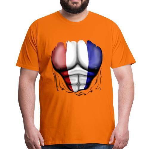 Holland Flag Ripped Muscles, six pack, chest t-shirt - Men's Premium T-Shirt