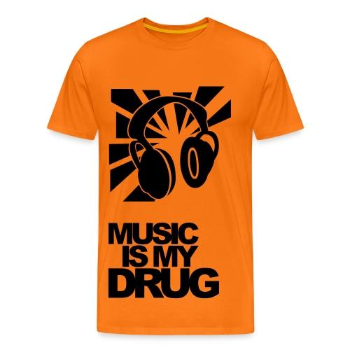 Black + Orange 'Music is my drug ' - Men's Premium T-Shirt