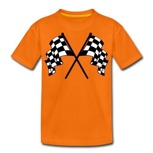 CHEQUERED FLAG ORANGE - Teenage Premium T-Shirt