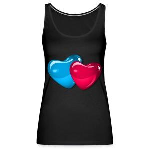 TWO SHINY BUBBLE HEARTS - Women's Premium Tank Top
