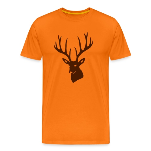 Herren Shirt Hirsch Geweih Hirschgeweih Hirschkopf braun - Männer Premium T-Shirt