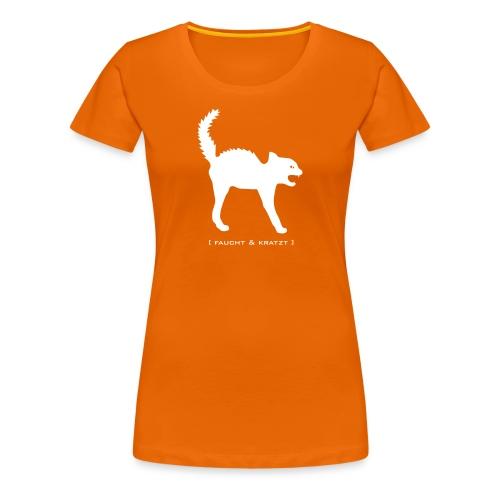 Damen Shirt Katze Wildkatze Kratzt und Faucht weiss Tiershirt Shirt Tiermotiv - Frauen Premium T-Shirt