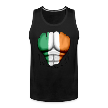 Ireland Flag Ripped Muscles, six pack, chest t-shi