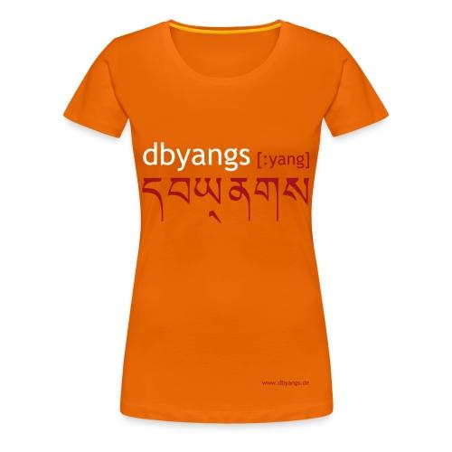 dbyangs Damen T-Shirt orange weiß/rot - Frauen Premium T-Shirt