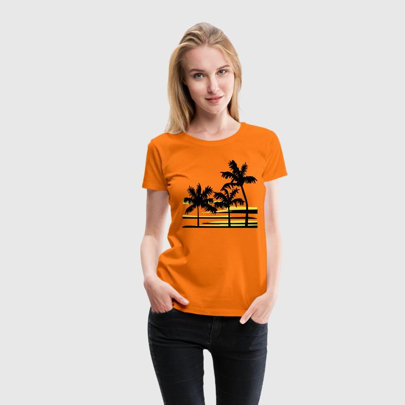 Palmen Strand Surfer Tropical Hawaii T-Shirt - Frauen Premium T-Shirt