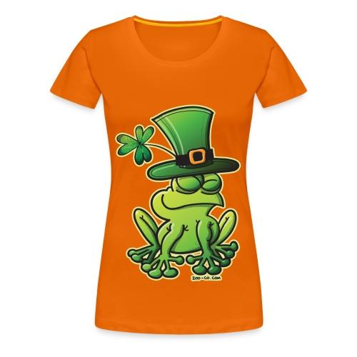 St. Patrick's Day Frog Girlie Shirt in Orange - Women's Premium T-Shirt