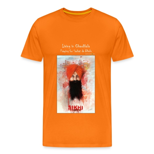 Rajoana - living in Chardikala, praying for Sarbat da Bhala - men's t-shirt - Men's Premium T-Shirt
