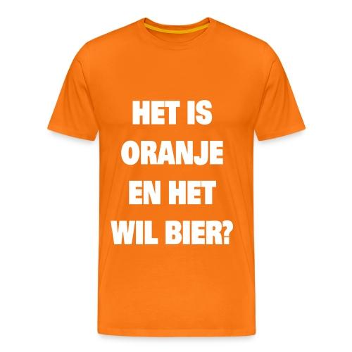 Raadsel T-shirt Het is oranje en het wil bier? - Mannen Premium T-shirt