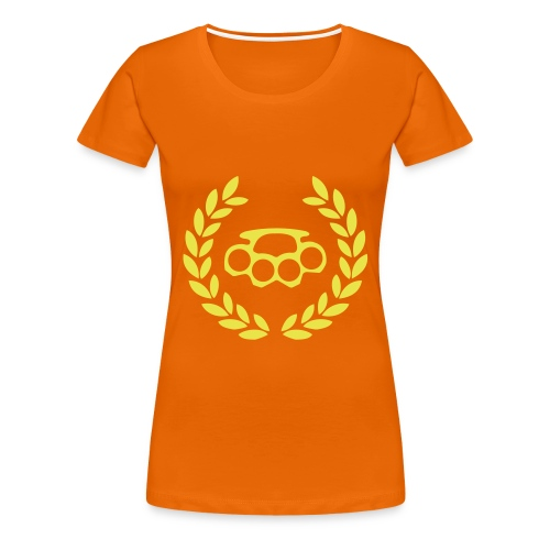 Women's Premium T-Shirt - Yellow Olympic Knuckle design on Orange Ladies T.