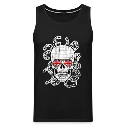 Skull wearing Union Jack sunglasses - Men's Premium Tank Top