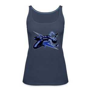 Rock God-Silver/Blue - Women's Premium Tank Top