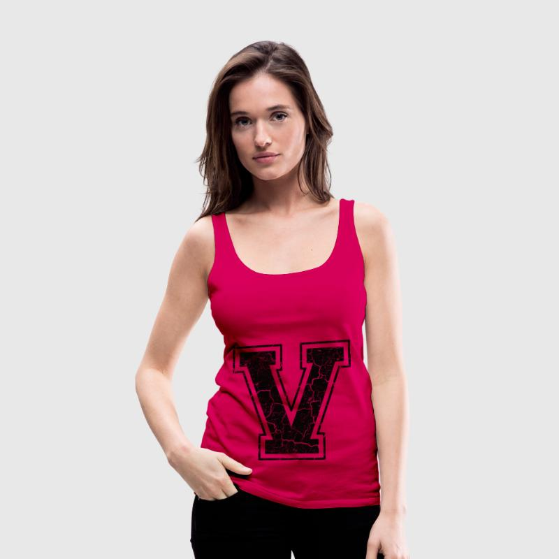 Litera V do Grunge-Look Topy - Tank top damski Premium
