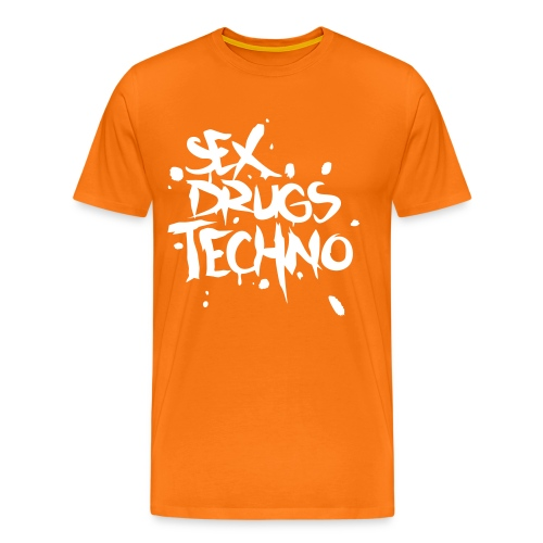Sex Drugs Techno _ Pomarańcza - Koszulka męska Premium