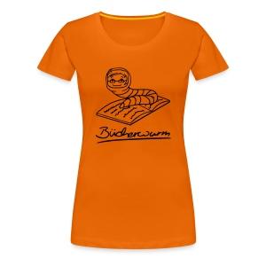 Motiv: Bücherwurm   Druck: schwarz   verschiedene Farben - Frauen Premium T-Shirt