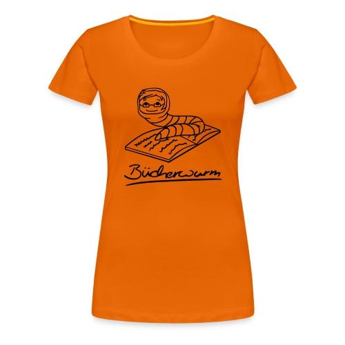 Motiv: Bücherwurm | Druck: schwarz | verschiedene Farben - Frauen Premium T-Shirt