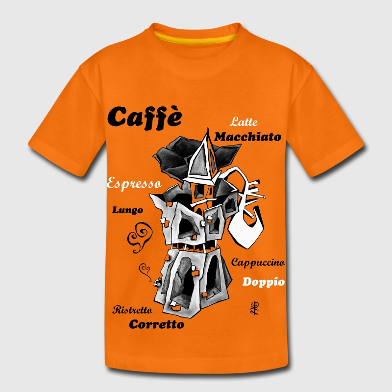 Coffee Art Design - Caffettiera Moka Illustration - Maglietta Premium per bambini