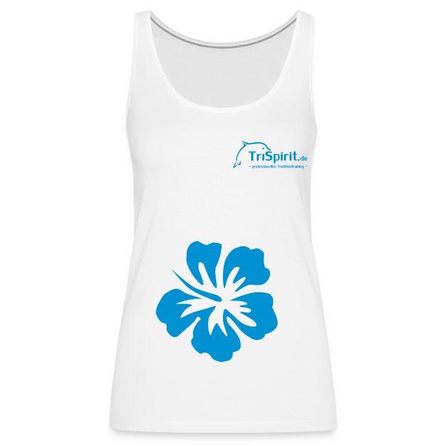 Cordula Tank mit grosser Blume, blaues Logo