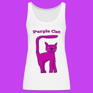 Women's Purple Cat vest - Women's Premium Tank Top