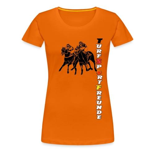 Frauen Premium T-Shirt - Vollblut,Stallgemeinschaft,Stall,Rennverein,Rennsport,Pferdesport,Pferderennen,Jockey,Galopprennsport,Galopprennen,Galopper,Besitzer Besitzergemeinschaft