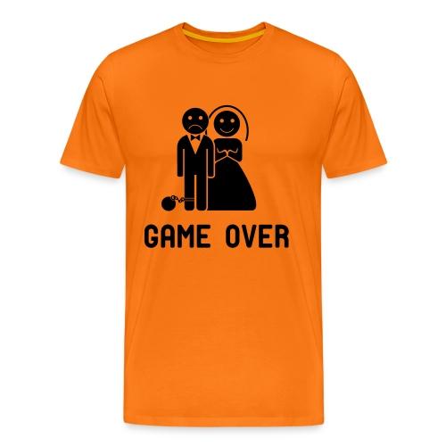 Vrijgezellenshirt Game over voor de heer in diverse kleuren. - Mannen Premium T-shirt