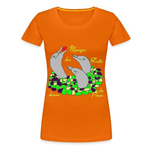 TS ORANGE DORE FEMMEFRUITS PEEPS - T-shirt Premium Femme
