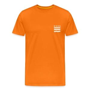 Männer Premium T-Shirt - Ob zur Vorlesung, zum Hochschulsport oder einfach nur als Freizeitbekleidung: Das lockere  Herren-T-Shirt in strahlendem Orange mit weißem FHB-Logobild (klein) und Schriftzug auf dem Rücken passt bei jeder Gelegenheit!