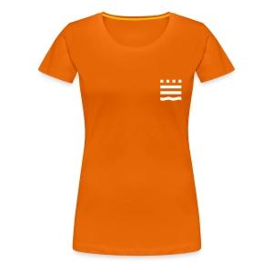 Frauen Premium T-Shirt - Ob zur Vorlesung, zum Hochschulsport oder einfach nur als Freizeitbekleidung: Das lockere  Damen-T-Shirt in schönem Orange mit weißem FHB-Logobild (klein) und Schriftzug auf dem Rücken passt bei jeder Gelegenheit!