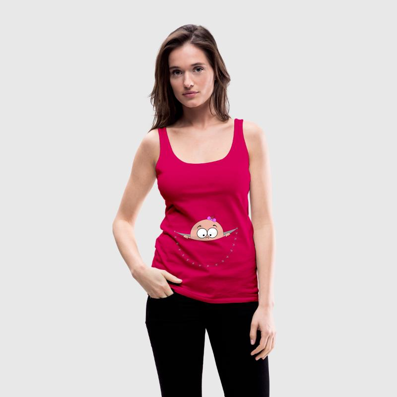 pregnant pregnancy baby bag pouch belly looking Tops - Women's Premium Tank Top