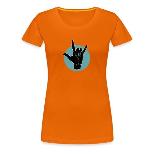 Fingeralphabet ILY black / green - Frauen Premium T-Shirt