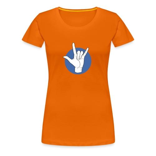Fingeralphabet ILY white / blue - Frauen Premium T-Shirt