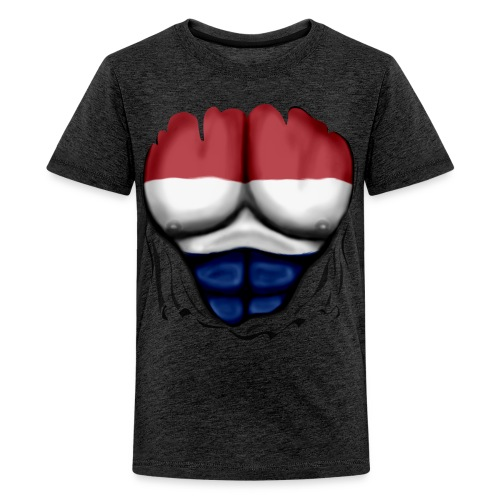 Dutch Flag Ripped Muscles six pack chest t-shirt - Teenage Premium T-Shirt
