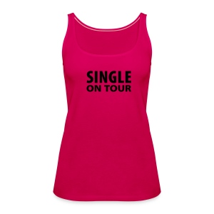 Single on Tour - Pink with Black Racerback Tank - Women's Premium Tank Top