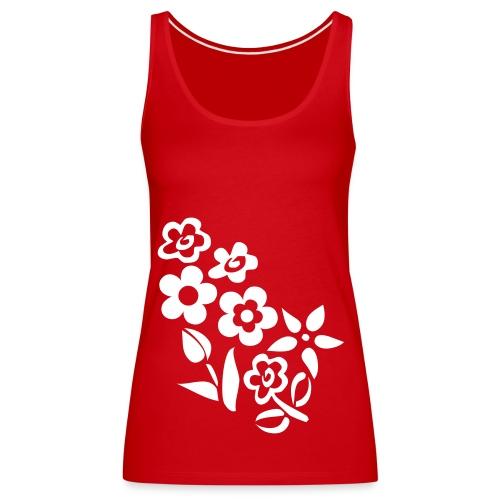 Top in Rot + weiße Blumen - Frauen Premium Tank Top