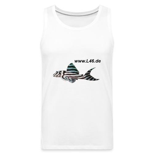 T Sleevel. Weiß Logo zweiseitig groß - Männer Premium Tank Top
