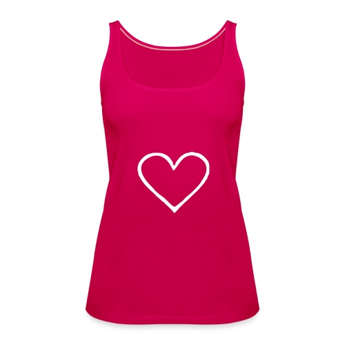 White Heart Non-Sleeve Tee - Women's Premium Tank Top