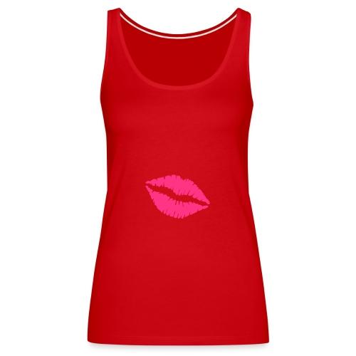 Débardeur à fines bretelles Femme rouge lips rose néon - Débardeur Premium Femme