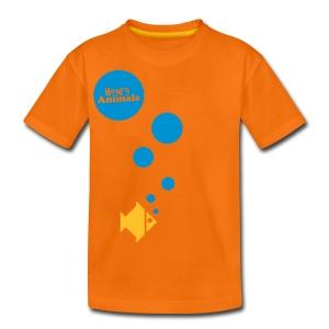 Kinder T-Shirt orange mit Fisch - Teenager Premium T-Shirt