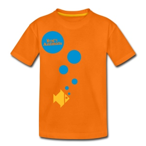Kinder T-Shirt orange mit Fisch - Teenager Premium T-Shirt
