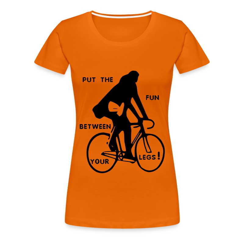 basic-orange-schwarz: put the fun between your legs - Frauen Premium T-Shirt