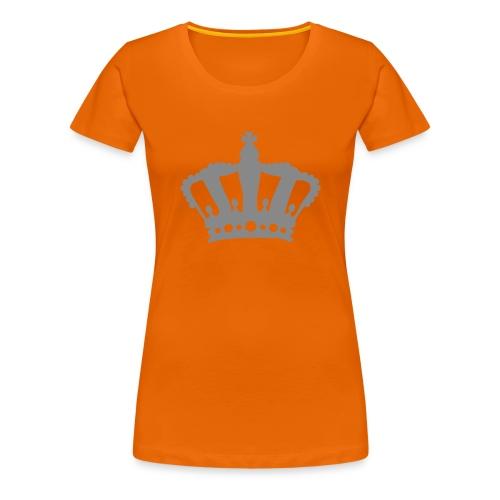 Koninginnedag kroon in zilver glitter - Vrouwen Premium T-shirt