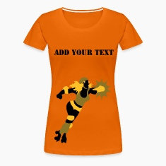 Orange roller derby action by Patjila Women's T-Shirts