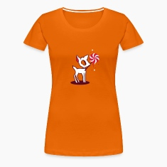 Orange Sweet zombie deer with sugar candy.  Women's T-Shirts