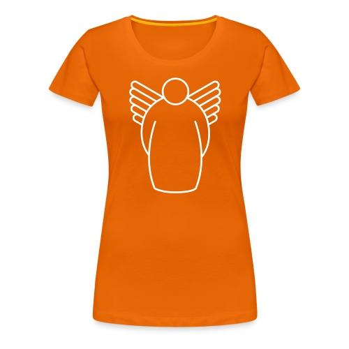 Frauen Premium T-Shirt - learning to fly. hinten lonelyman ärmel links lonelyman.nl