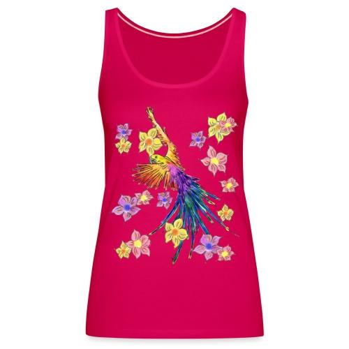 bunter Papagei mit Blumen - Frauen Premium Tank Top