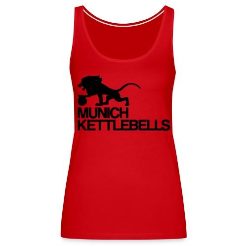 Munich Kettlebells Frauen Schulterfreies Tank Top rot / Logo schwarz - Frauen Premium Tank Top