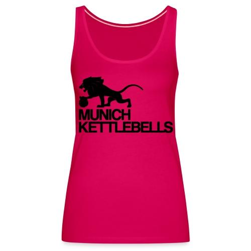 Munich Kettlebells Frauen Schulterfreies Tank Top pink / Logo schwarz - Frauen Premium Tank Top